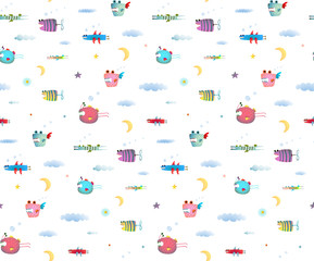 Monster Fly Fish seamless pattern for Kids Design background