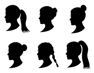 Set of black silhouette girl head with different hairstyle: tail, ponytail, bun, braid hairstyle. Young women face in profile with long hair. Isolated on white background. Vector illustration