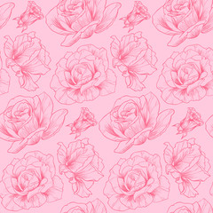 Roses on a pink background vector seamless pattern