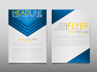 Blue business technology annual report brochure flyer design template vector, Leaflet cover presentation abstract geometric background, modern publication poster magazine, layout in A4 size