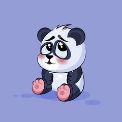 Illustration isolated Emoji character cartoon Panda embarrassed, shy and blushes sticker emoticon