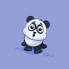 Illustration isolated Emoji character cartoon Panda surprised with big eyes sticker emoticon