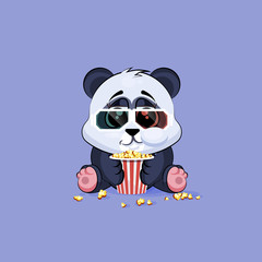 Illustration Emoji character cartoon Panda chewing popcorn, watching movie in 3D glasses sticker emoticon