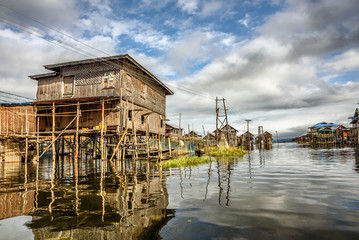 Wooden houses on piles, Inle Lake, Myanmar