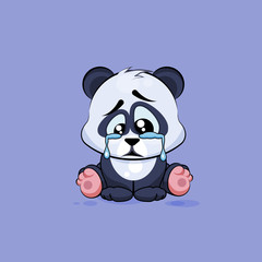 Illustration isolated Emoji character cartoon sad and frustrated Panda crying, tears sticker emoticon