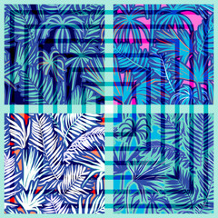 vector seamless graphical artistic tropical foliage pattern with geometric squares overlay, palm leaf, fern frond, cyperus, decorative colorful, summer fashionable background allover tropical print
