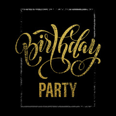 Birthday Party gold glitter invitation card