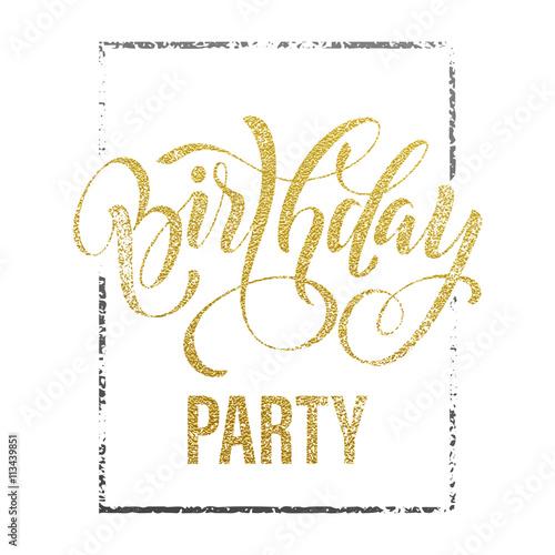 Birthday party gold glitter invitation card stock image and royalty birthday party gold glitter invitation card stopboris Image collections