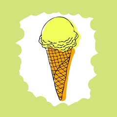 Ice cream cone. Image of vanilla ice cream.