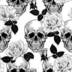 Skull and roses. vector seamless pattern