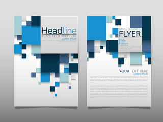 Blue square business technology annual report brochure flyer design template vector, Leaflet cover presentation abstract geometric background, modern publication poster magazine, layout in A4 size