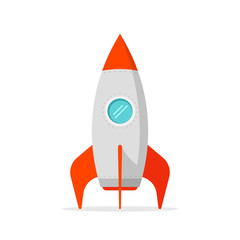 Rocket ship vector illustration isolated on white, flat cartoon rocket standing