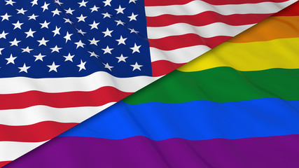 Gay Pride in the USA Concept - Split Rainbow Flag and American Flag 3D Illustration
