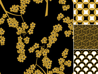 Japanese seamless pattern set with traditional ornaments