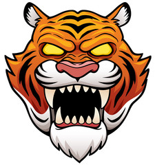 Vector illustration of Tiger Face Cartoon