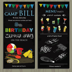 chalk board invitation  for birthday, children holiday in the ca