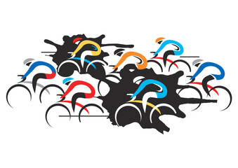 Cyclists Racers. Colorful illustration of cycling race on the white background. Vector available.