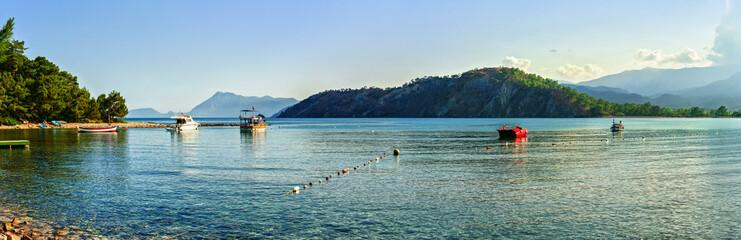 Panoramic view of Mediterranean sea coast at Phaselis (15 km from Kemer) in Antalya, Turkey