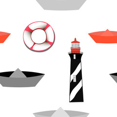 Seamless pattern with lighthouse and boats
