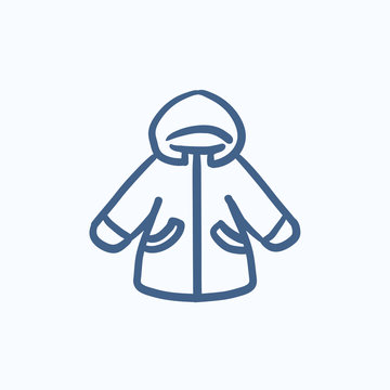 Winter jacket sketch icon.