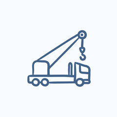 Mobile crane sketch icon.