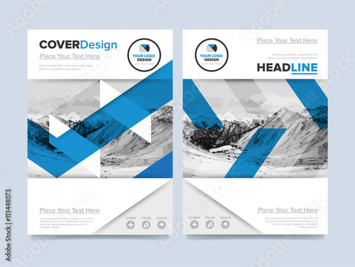 brochure cover presentation design template vector blue annual