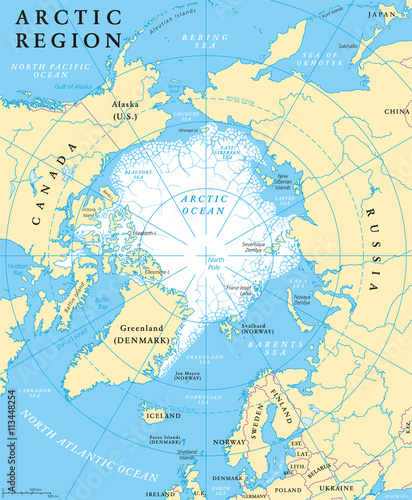 Arctic Region Map With Countries Capitals National Borders - World map with countries and capitals in english