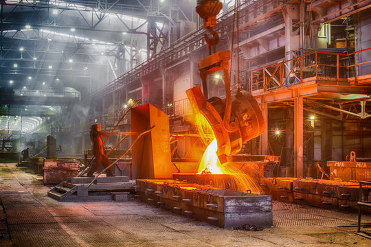 Novokuznetsk, Russia - MAY 25, 2016: Casting ferroalloy factory