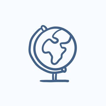 World globe on stand sketch icon.
