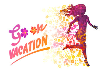Flower silhouette running woman. Go on vacation hand drawn inspiration. Vector illustration of a summer holiday.
