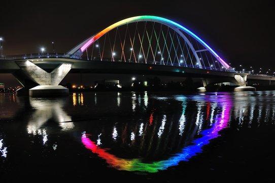 Lowry Avenue Bridge in Minneapolis lit in Rainbow Colors