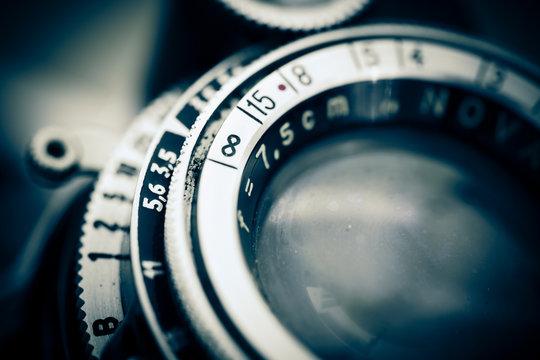 Optique d'un appareil photo vintage diaphragme