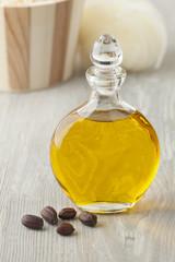 Bottle of cosmetic Jojoba oil