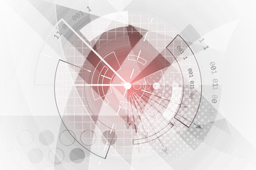 Technological abstract background. Vector banner with red glow, grid, halftone effect and cogwheel.