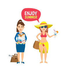 enjoy summer concept illustration. business woman with documents beach girl in swimsuit with cocktail isolated on white background