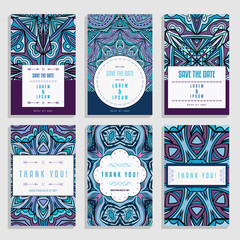 Six Wedding Cards With Ethnic Ornaments