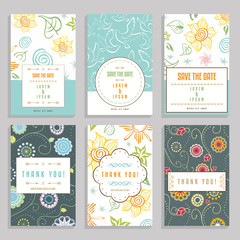 Six Cards With Floral Ornaments