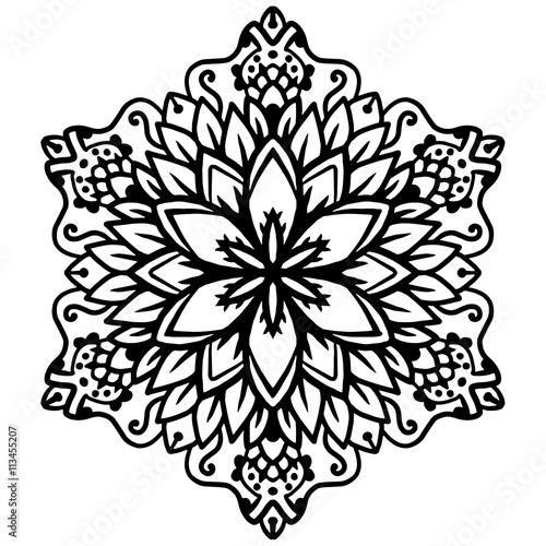 Black mandala for coloring Mandala vector coloring page Mandala
