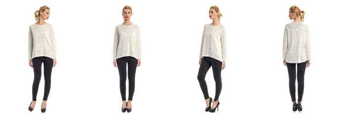 Beautiful blonde women in black jeans isolated