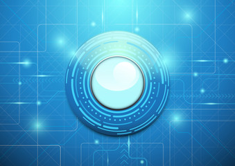 Abstract technology blue background. Modern circle geometric con