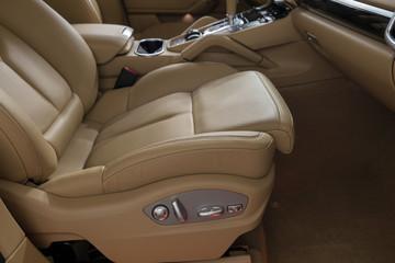 Car passenger leather seat. Interior background.