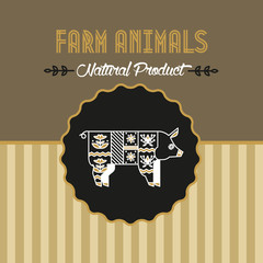 Farm animal. Natural product. Pig farm for the logo, banner, packing. The vector in the ethnic style.