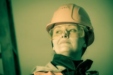 Closeup portrait of female engineer.