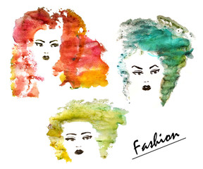 Three hand drawn fashion women with watercolor stylized hair