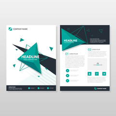 Green triangle Vector business proposal Leaflet Brochure Flyer template design, book cover layout design, abstract business presentation template, a4 size design