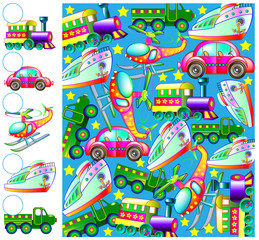 Exercises for children - needs to count the transport vehicles and draw the corresponding numbers in circles. Developing skills for counting. Vector image.