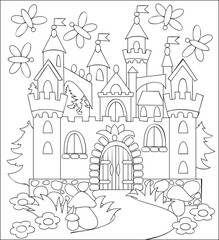 Black and white illustration of fairyland medieval castle for coloring. Developing children skills for drawing. Vector image.