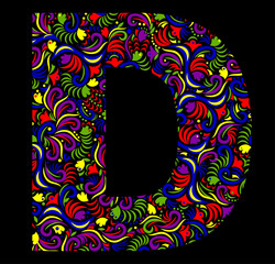 Illustration of  fantasy Letter D on black background. Vector image.