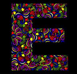 Illustration of  fantasy Letter E on black background. Vector image.