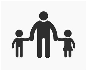 Family flat Icon father holding the hand of his son and daughter.